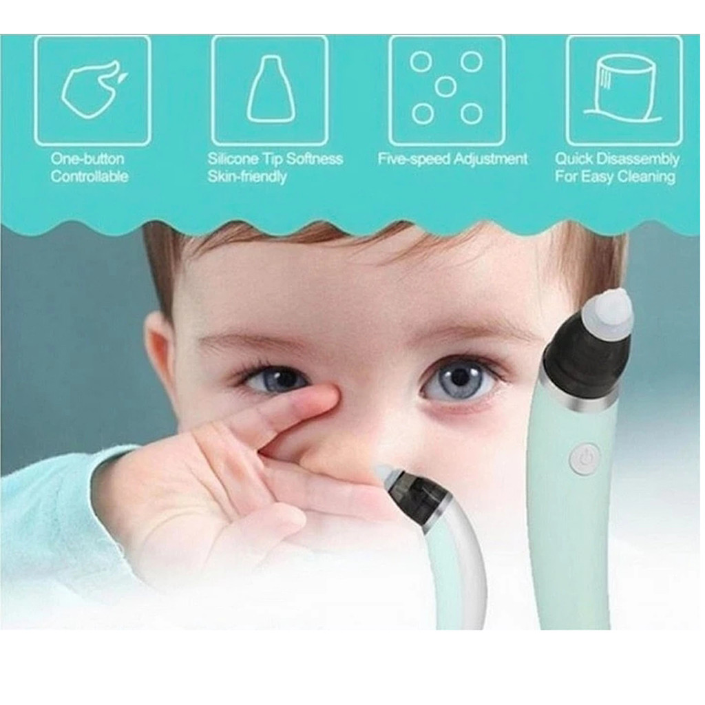 Electric Baby Nasal Aspirator with 6 Suction Levels USB Rechargeable Nose Cleaner Snot Booger Sucker Mucus Remover with 4 Silicone Tips for Toddlers Infant Kids