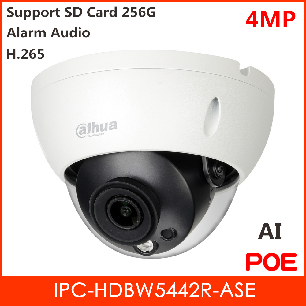 Dahua Pro-AI 4MP IP Camera H.265 Alarm Audio Fix lens Support Motion Detection Face Image Capture and SD Card IP Security Camera