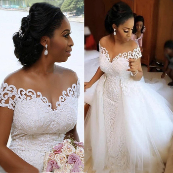 Fansmile Vestido De Noiva 2 in 1 Detachable Train Mermaid Wedding Dress 2020 Lace Bridal Gowns FSM-140T - discount item  30% OFF Wedding Dresses