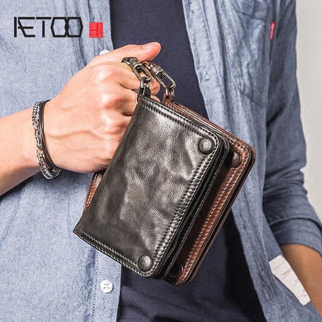 AETOO Boys handmade wallet male section vertical paragraph retro sheepskin men leather multi functional soft skin Vintage wallet
