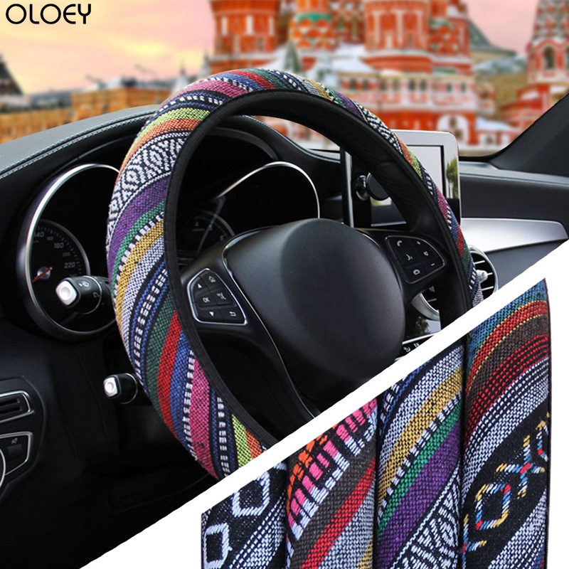Ethnic Style Diameter 37-39cm <font><b>Car</b></font> Steering-<font><b>wheel</b></font> <font><b>Covers</b></font> Steering <font><b>Wheel</b></font> <font><b>Cover</b></font> Linen Universal Elastic <font><b>Car</b></font> Accessories <font><b>for</b></font> <font><b>women</b></font> image