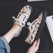 Shoes Women Spring Autumn New Canvas Girls Students Graffiti  Kitty Cartoon Cat Korean Edition Ins Style White  A0 29