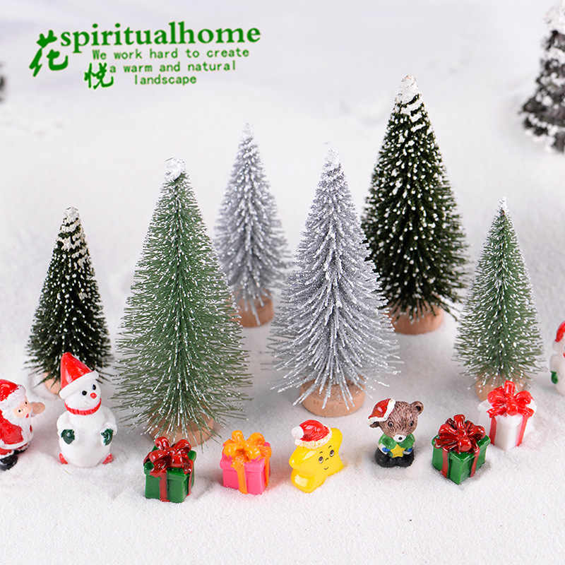 Artificial Christmas Tree Figurine Sisal Silk Cedar Pine Tree Mini Miniature Micro Landscape Xmas New Year Fairy Garden Decor