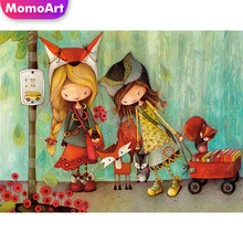 MomoArt 5D Diamond Embroidery Cartoon Girl Painting Cross Stitch Square Drill Home Decoration Childrens Gifts
