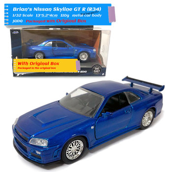 JADA 1/32 Scale Car Toys Nissan Skyline GTR R34 Diecast Metal Car Model Toy For Gift/Kids/Collection ветровики skyline nissan teana 2014 хром молдинг
