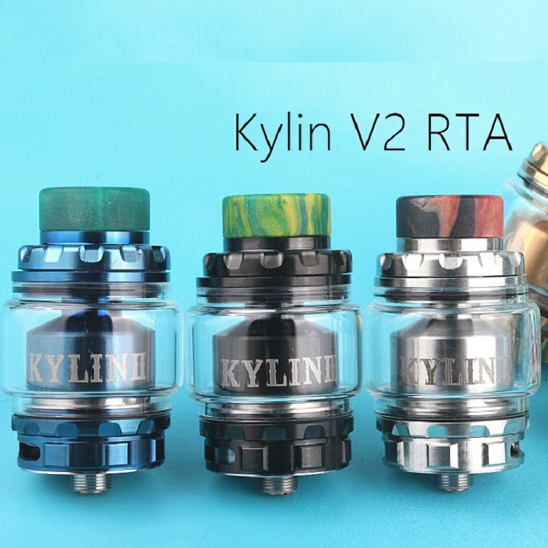 RTA Kylin V2 Tank Atomizer With Airflow Intake Dual Coil Upgraded For E Cigarette Box Mod Vape Color Newest Kylin Rta Atomizer