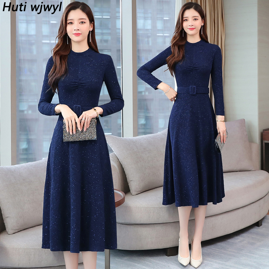2019 Vintage Blue Long Sleeve Midi Dresses Autumn Winter 2XL Plus Size Solid Women Bodycon Dress Elegant Party Femal Vestidos