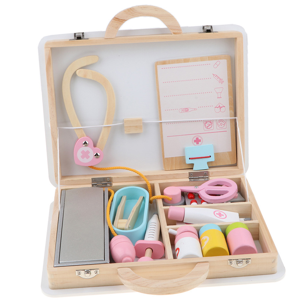 Wooden Medical Kits Toddler Role Play And Accessory Set (15 Pieces), With Carry Case, Pre-kindergarten Toy