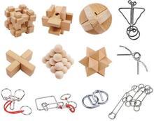 6/12PCS/Set IQ Wooden Burr Puzzle Metal Magic Wire Brain Teaser Puzzles Game for Adults Children 10pcs set bamboo burr puzzle traditional educational brain teaser interlocking puzzles game toys for adults children