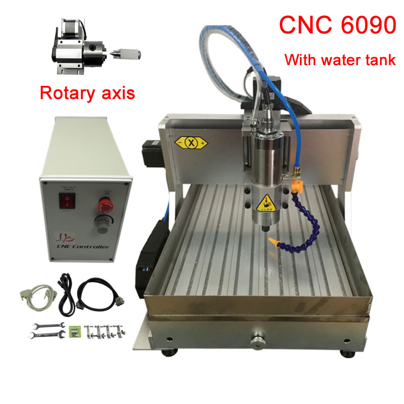 DIY CNC 6090 Router 4Axis 2.2KW Frame Engraving Milling Machine For Woodworking With Water Tank And Water Cooling Spindle