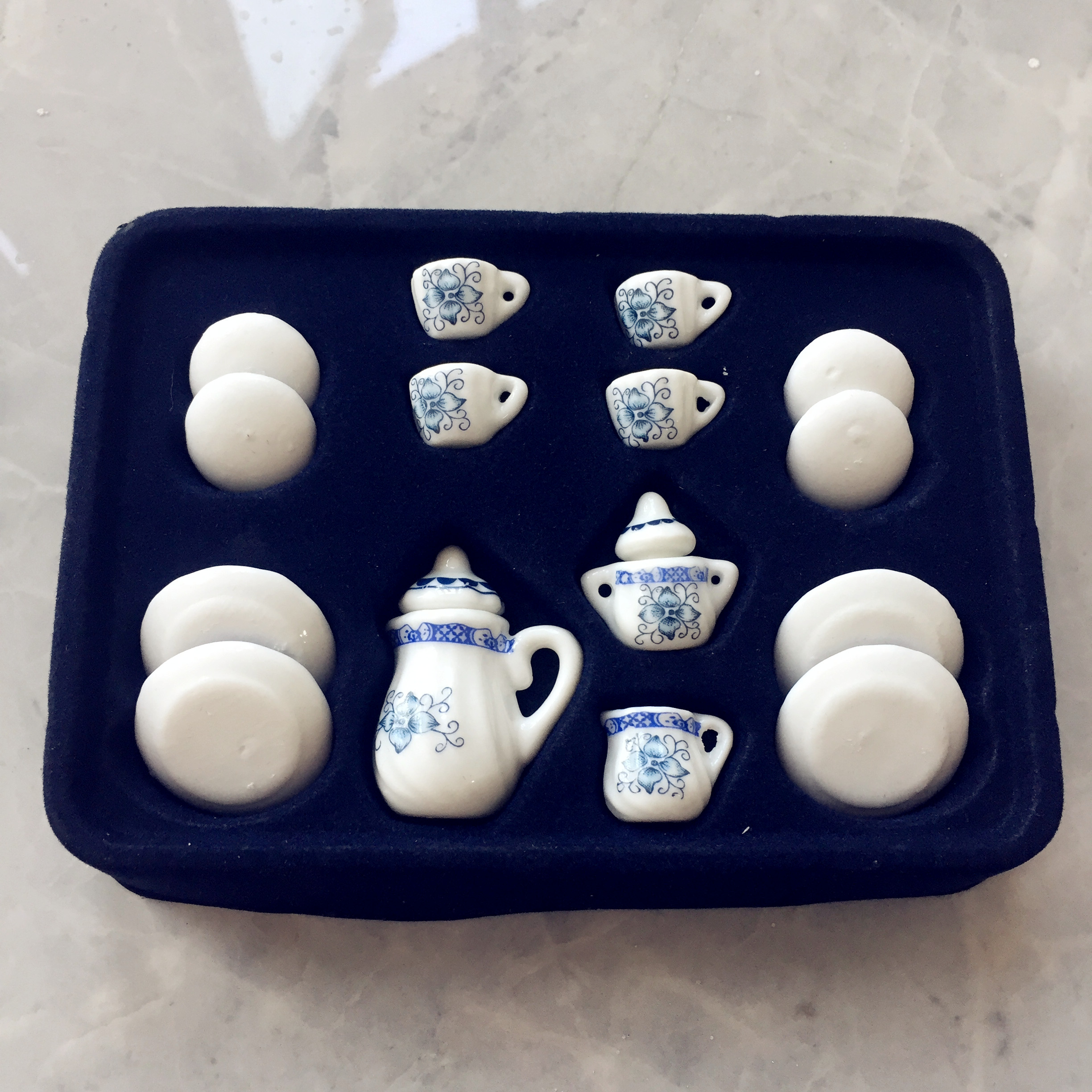 China Ceramic Dollhouse Miniature Blue and White Porcelain Dining Ware Tea Set Dish Cup Plate Doll House Kitchen Accessories