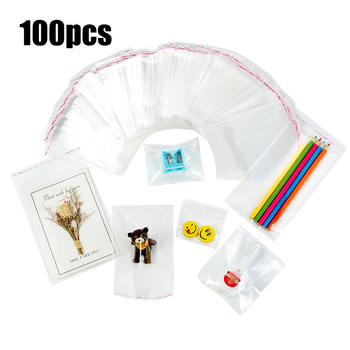 100pcs Clear Cello Self Adhesive Self Sealing Gift Cookie Candy Bags Thick Packing Resealable Jewelry Packaging Cellophane Bag image