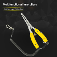Multifunction Fishing Plier Scissor with Missed Rope Stainless Steel Fish Clamp Split Ring Line Cutter Hook Removers Tackle