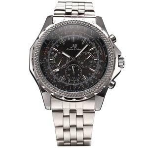 Для мужчин и женщин 6 Pin глянцевый ремешок из нержавеющей стали наручные часы большой круглый циферблат повседневные деловые механические ч...