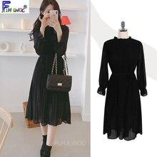 Uma linha vestidos plissados manga alargamento feminino ano novo data meninas babados preto vestido coréia japanes estilo design roupas 1118