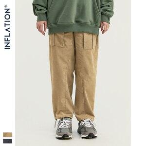 Image 5 - INFLATION 2020 Collection hommes décontracté velours côtelé survêtement pantalons hommes coupe ample velours côtelé salopette couleur unie décontracté hommes pantalons 93319W