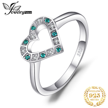 JewelryPalace 0.05ct Nano Russian Simulated Emerald Heart Ring 925 Ste
