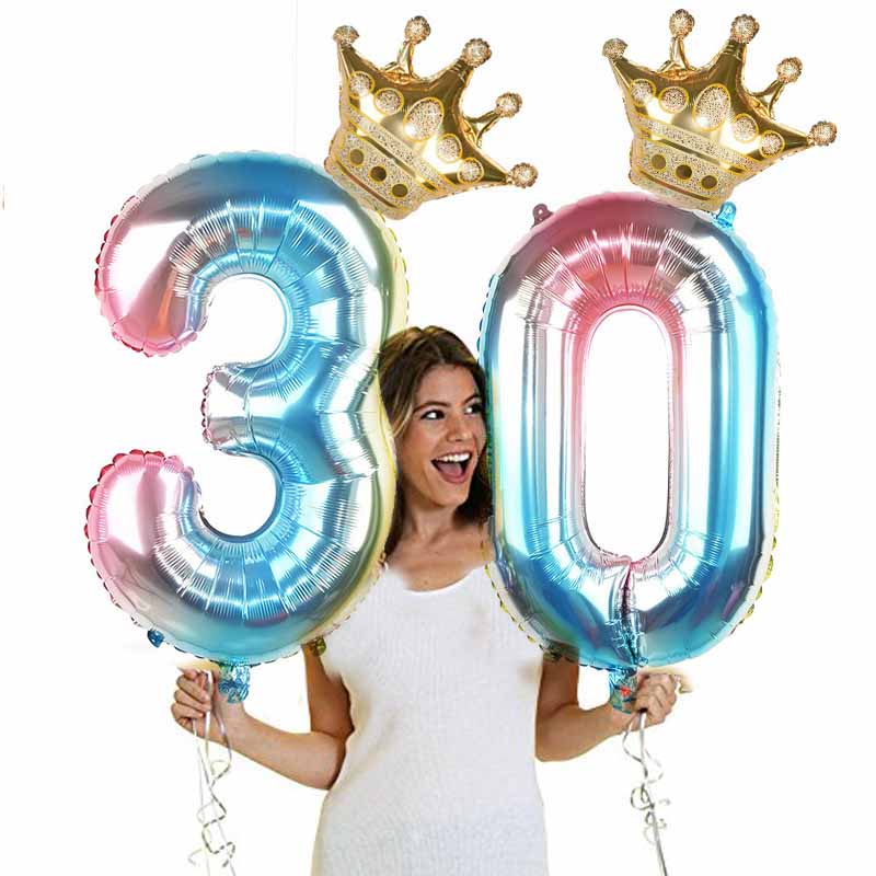 Image 5 - 1Set 32Inch Number Foil Balloon Crown Figure 0 9 Birthday Wedding Engagement Kids Birthday Party Decoration Globos Ball Supplies-in Ballons & Accessories from Home & Garden