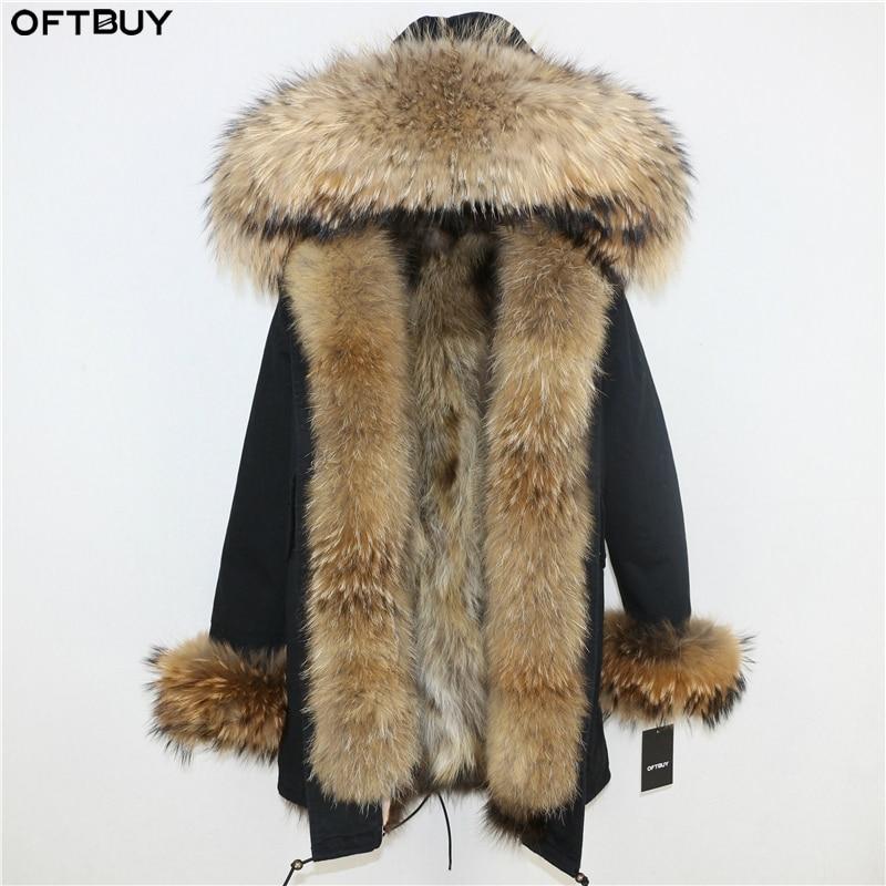 OFTBUY 2019 Winter Jacket Women Long Parka Real Fox Fur Coat Natural Raccoon Fur Collar Hood Thick Warm Streetwear Parkas New 2