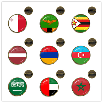 Malta Zambia Zimbabwe Latvia Armenia Azerbaijan Saudi Arabia UAE Morocco National Flag Glass Brooch Collar Pins Jewelry Gift image