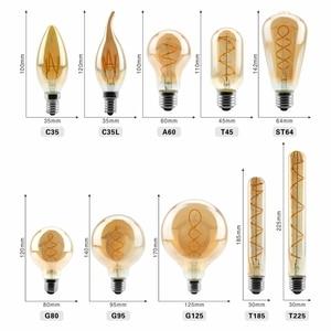 Image 2 - Lâmpada regulável de edison, 4w 2200k c35 t45 a60 st64 g80 g95 g125, espiral, filamento retrô iluminação decorativa de lâmpada