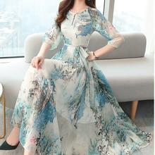 2020 Summer New Arrival high Quality Elegant Round Collar Flower Printed Short Sleeve Women Chiffon