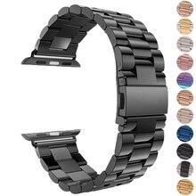 Pulseira de aço inoxidável para apple pulseira de relógio 38mm 42mm metal 40mm 44mm pulseira esportiva para iwatch series 6/se/5/4/3/2/1
