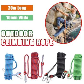 20m Outdoor Climbing Rope 48 Strands With Carabiner And Sewing Buckle 10mm Downhill Rope Aerial Work Climbing Rope Anti-Fall Ins xinda 12 meter outdoor static rope climbing rope rappelling rope high altitude climbing rope safety equipment 9 10mm rope