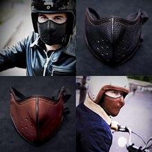 Mascarilla de cuero estilo Punk para motorista, máscara facial antipolvo para deportes al aire libre