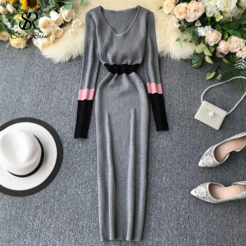 Платье Свитер женское осенне зимнее эластичное с V образным вырезом|Платья| | АлиЭкспресс