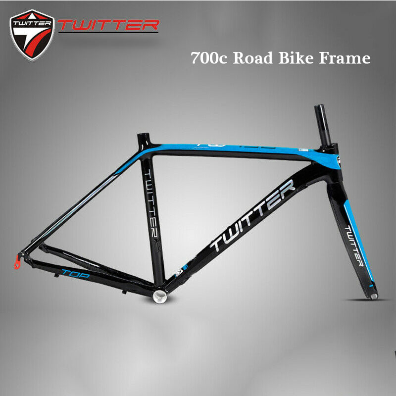 TWITTER <font><b>700C</b></font> Road Bike Frame 46cm 48cm 50cm 52cm Aluminum <font><b>Alloy</b></font> Straight Tube Carbon Fiber Rigid <font><b>Fork</b></font> 130mm Ultralight BB68 image