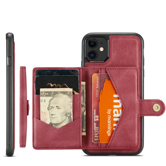 Suitable for IPhone 12 Multi Card Wallet  Magnetic Mobile Phone Case  5