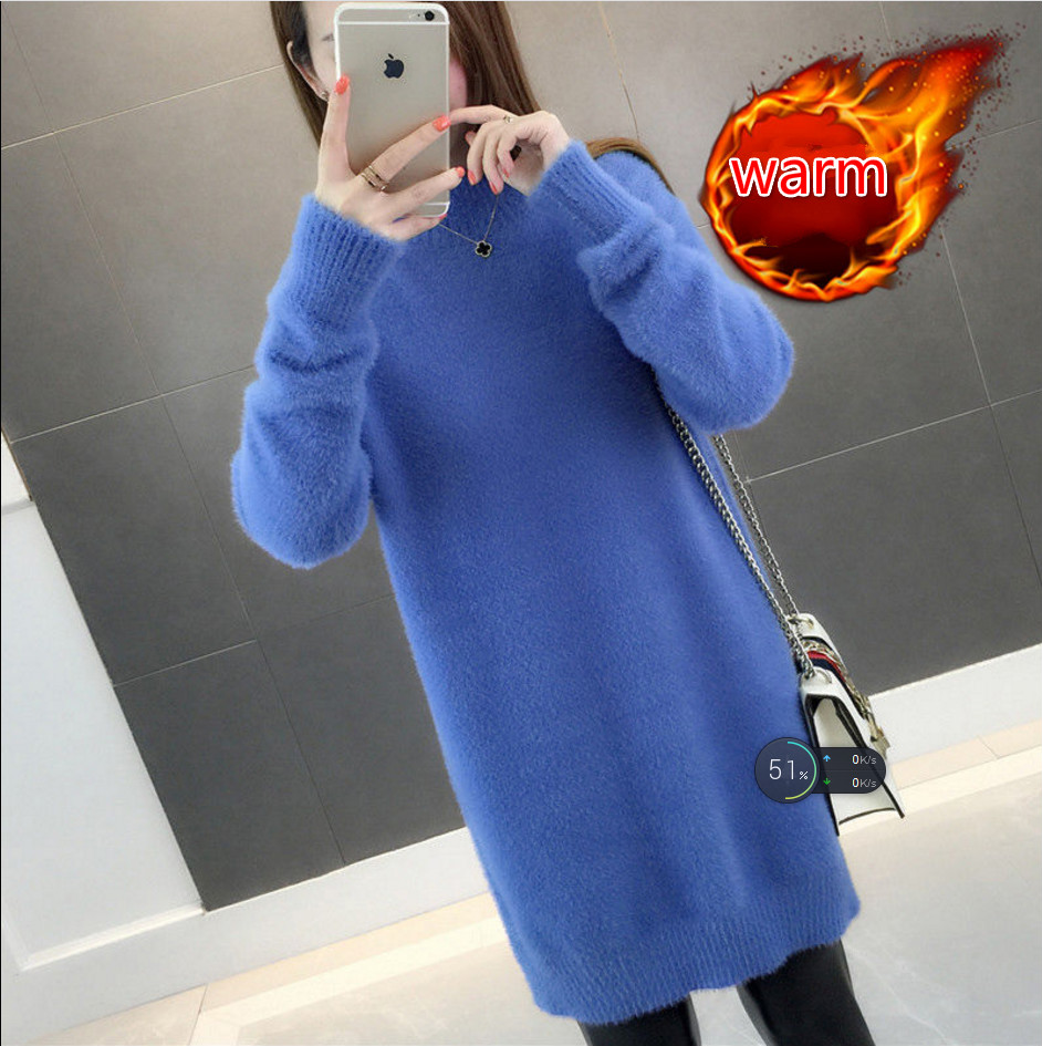 Women Long Faux Mink Cashmere Sweater Long Sleeve Knitted Warm Fleece Pullover