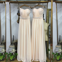 Sleeveless Pleated Long Bridesmaid Dress Elegant Floor Length Formal Occasion Pageant Dress