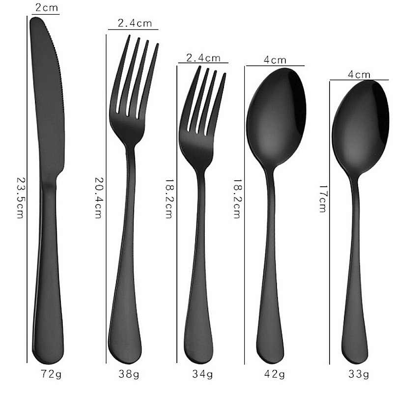 食器セット 304 ステンレス鋼カトラリーセット黒ナイフシルバーとゴールドカトラリー食器フォークセット洋食 5 ピースセット