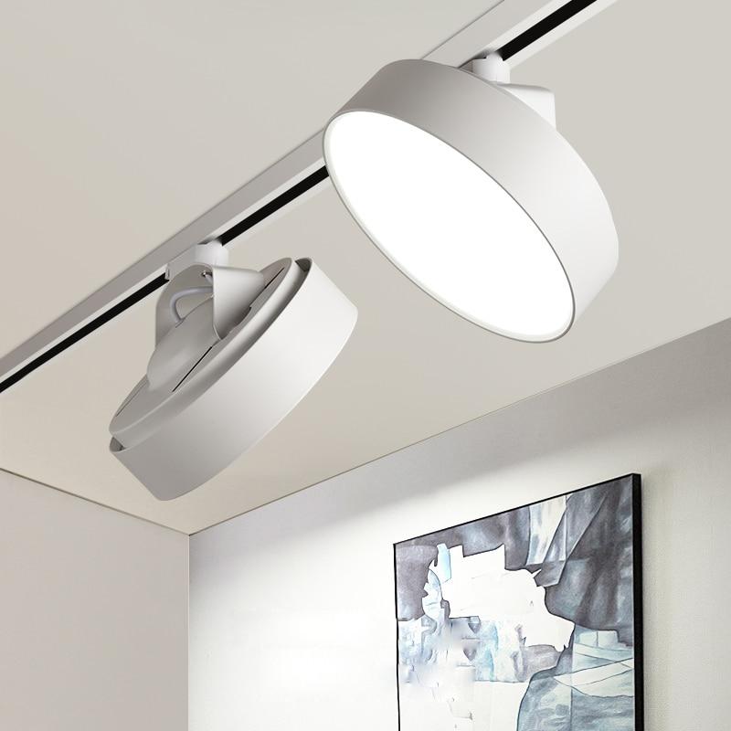 LED Track Light Aluminum Ceiling 2 Wires Rail Track Lighting Light Lamps 110V 220V 24w LED Lighting For Store Exhibition Round