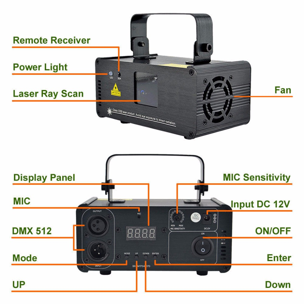 Image 2 - AUCD Mini IR Remote 8CH DMX 100mW Red Laser DPSS Projector Lights Disco DJ Christmas Party Show Beam Scan Stage Lighting DM R100-in Stage Lighting Effect from Lights & Lighting
