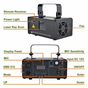 Image 2 - AUCD Mini IR Remote 8CH DMX 100mW Red Laser DPSS Projector Lights Disco DJ Christmas Party Show Beam Scan Stage Lighting DM R100