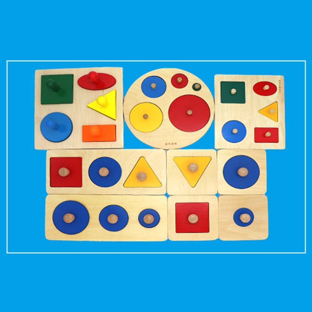 Montessori Wood Knob Puzzle Peg Board Geometric Shape Match Baby Educational Toy Children Preschool Education Simple Brain Toys