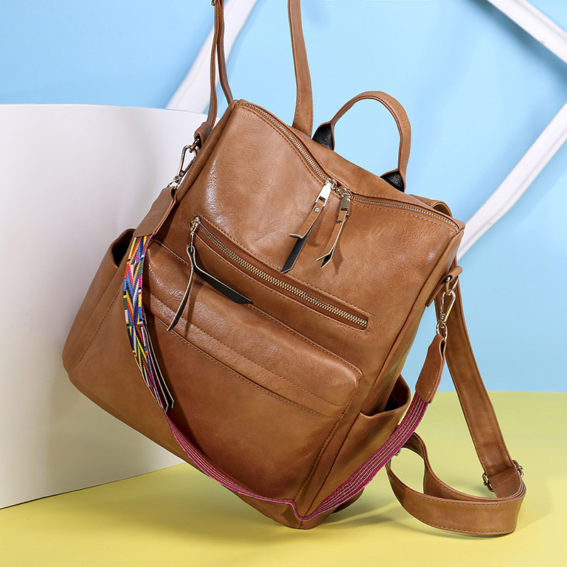 Large Women Leather Backpack Students School Backpacks Brown Belt Rucksack Shoulder Bags Mochila Pink Vintage Back Pack XA18H