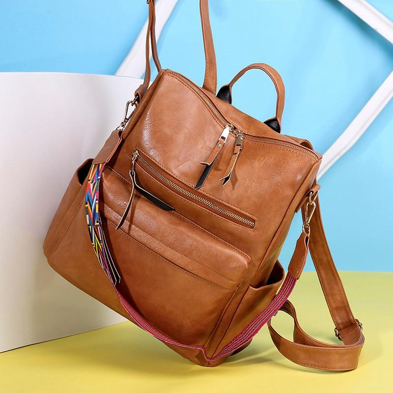 Large Women Leather Backpack Students School Backpacks Brown Belt Rucksack Shoulder Bags Mochila Pink Vintage Back Pack XA18H