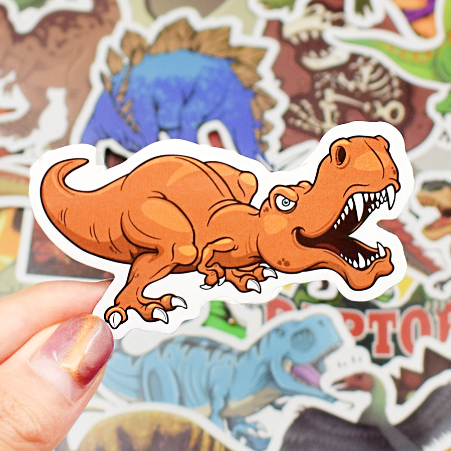 50 PCS Dinosaur Animal Stickers Boys Toys Jurassic Anime Cool Funny Waterproof Sticker to DIY Cups Skateboard Car Laptop Sticker