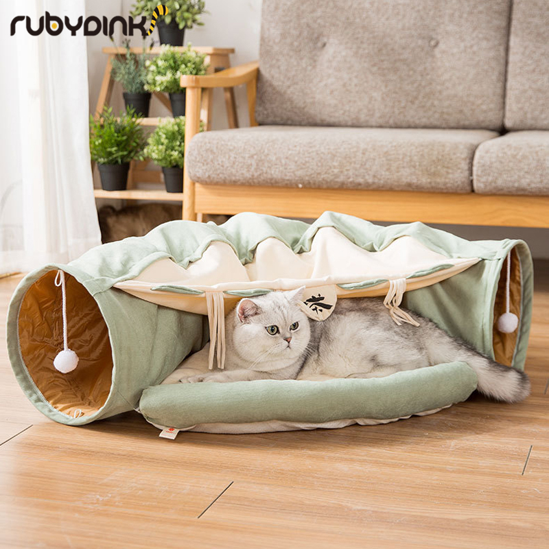 Funny Cat Tunnel bed Collapsible Crinkle Pet tent Kitten Puppy Ferrets Rabbit interactive Toys 2 holes Tunnel Pet cat nest image