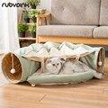 Gato engraçado túnel cama dobrável crinkle tenda pet gatinho filhote de cachorro furões coelho brinquedos interativos 2 buracos túnel ninho de gato