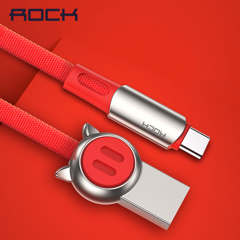 ROCK USB Type C Cable for Samsung S9 S8 Chinese Zodiac Type-C Mobile Phone Charging Wire USB C Cable for Xiaomi mi9 Redmi Note 7 image