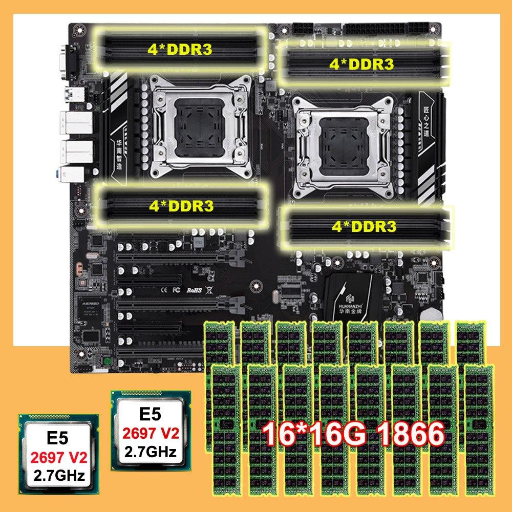 HUANANZHI Discount X79-16D Motherboard CPU RAM Combo Dual CPU Intel Xeon E5 2697 V2 2.7GHz Memory 256G(16*16G) RECC