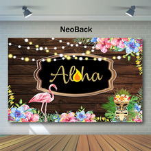 NeoBack Wood Flamingo Birthday Backdrop Summer Tropics ALOHA Photography Backdrops Pink Blue Flowers Background
