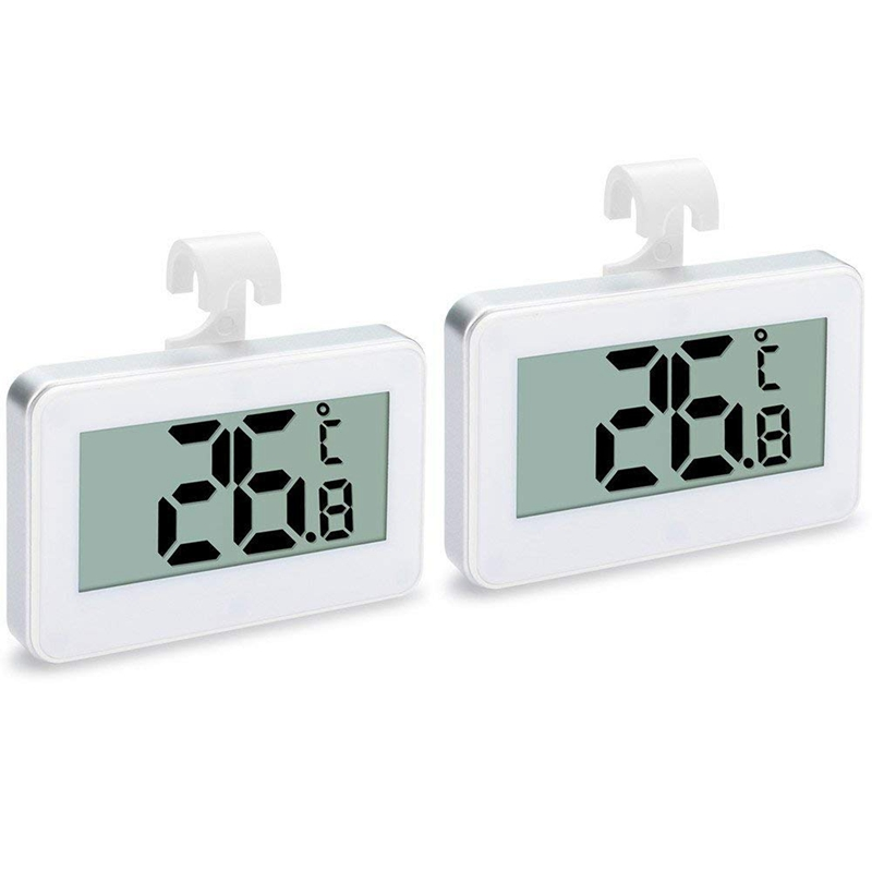 2Pack Refrigerator Thermometer, Digital Waterproof Refrigerator Freezer Temperature Monitor -30 To 60 Degrees With Hook For Indo