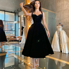 Black Velvet Cocktail Dresses Sweetheart Tea Length Arabic Women Prom Gowns Custom Made Formal Dress for Wedding Party