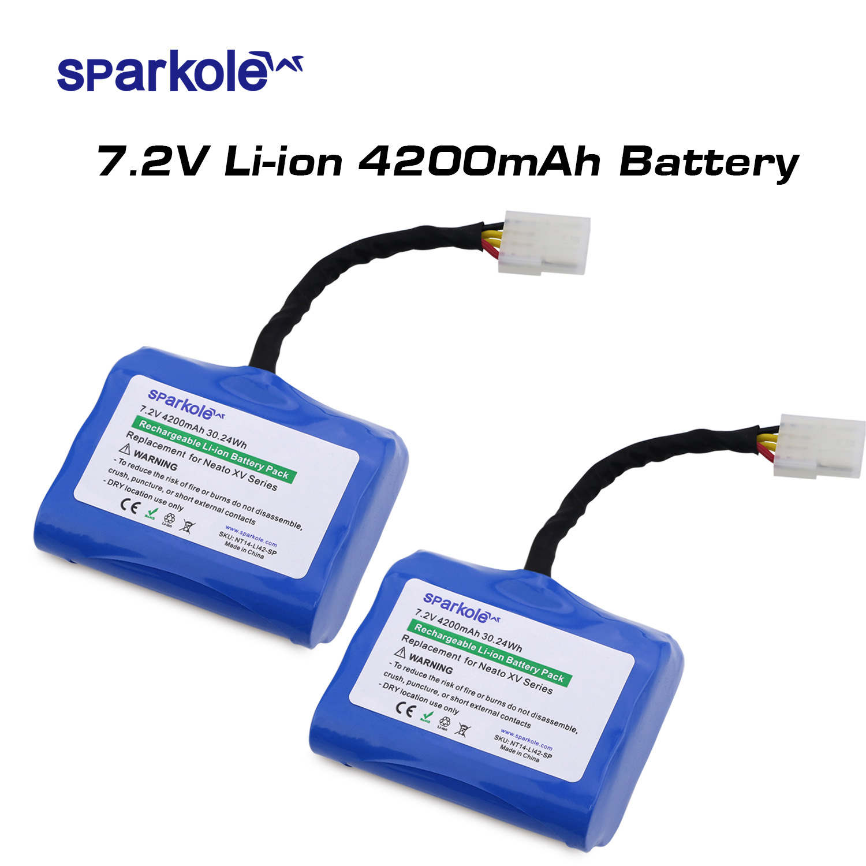 Sparkole 4200mAh Lithium battery for Neato XV 11 XV 12 XV 14 XV 15 XV 25 XV 21 XV Signature Pro Robotic Vacuum Cleaner 2Pack UL|battery for neato|neato robotics battery|robot vacuum battery - title=